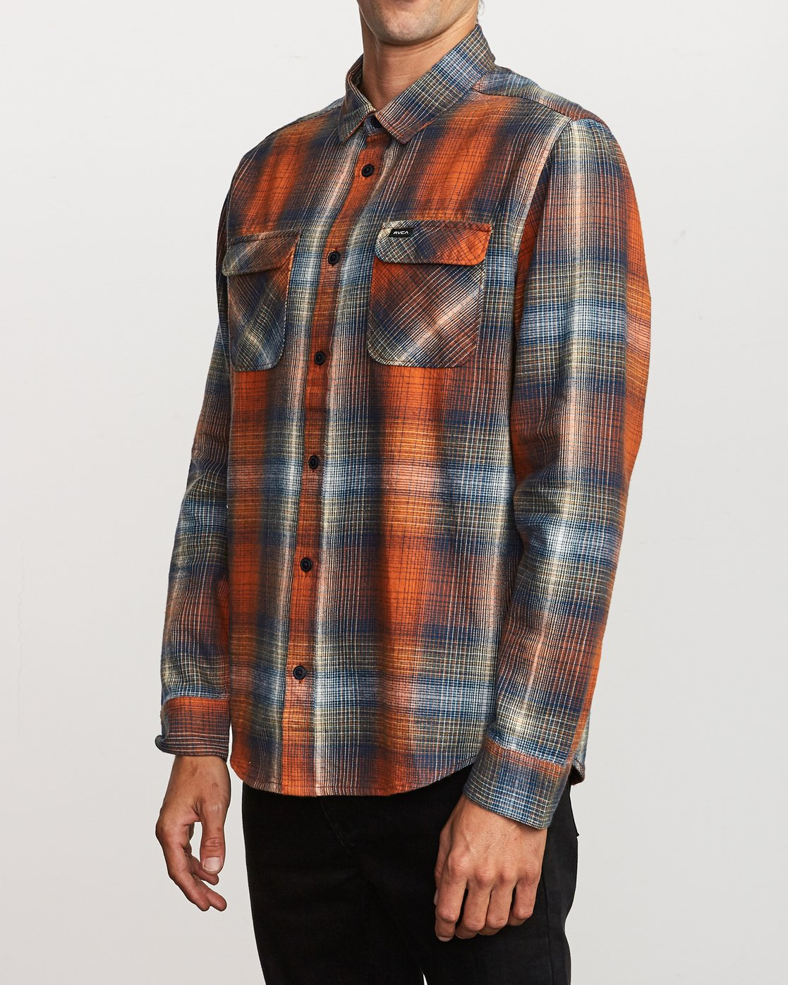 3 Muir Plaid Long Sleeve Flannel  Orange M552TRMF RVCA