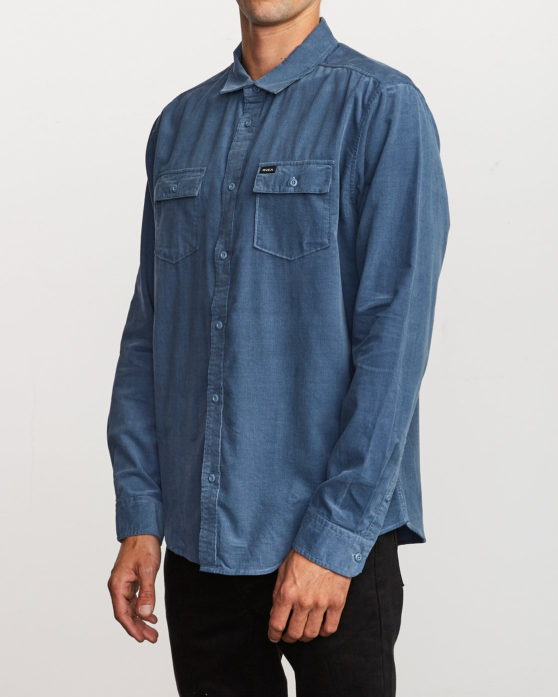 2 Freeman Corduroy Long Sleeve Shirt Blue M552VRFC RVCA