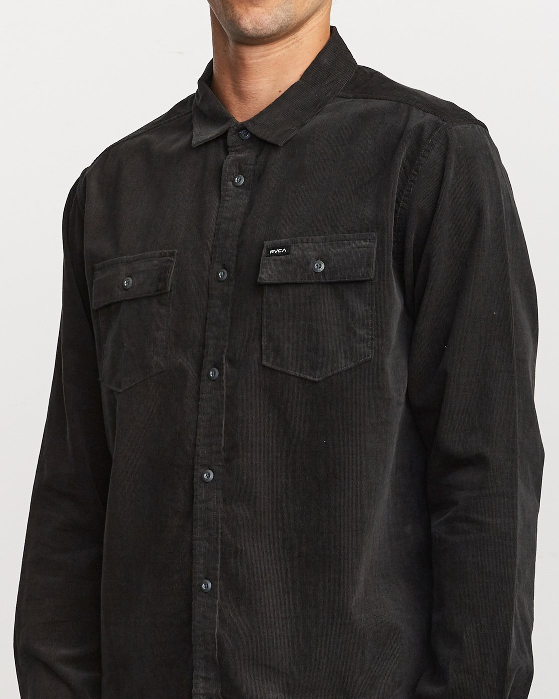 5 Freeman Corduroy Long Sleeve Shirt Black M552VRFC RVCA