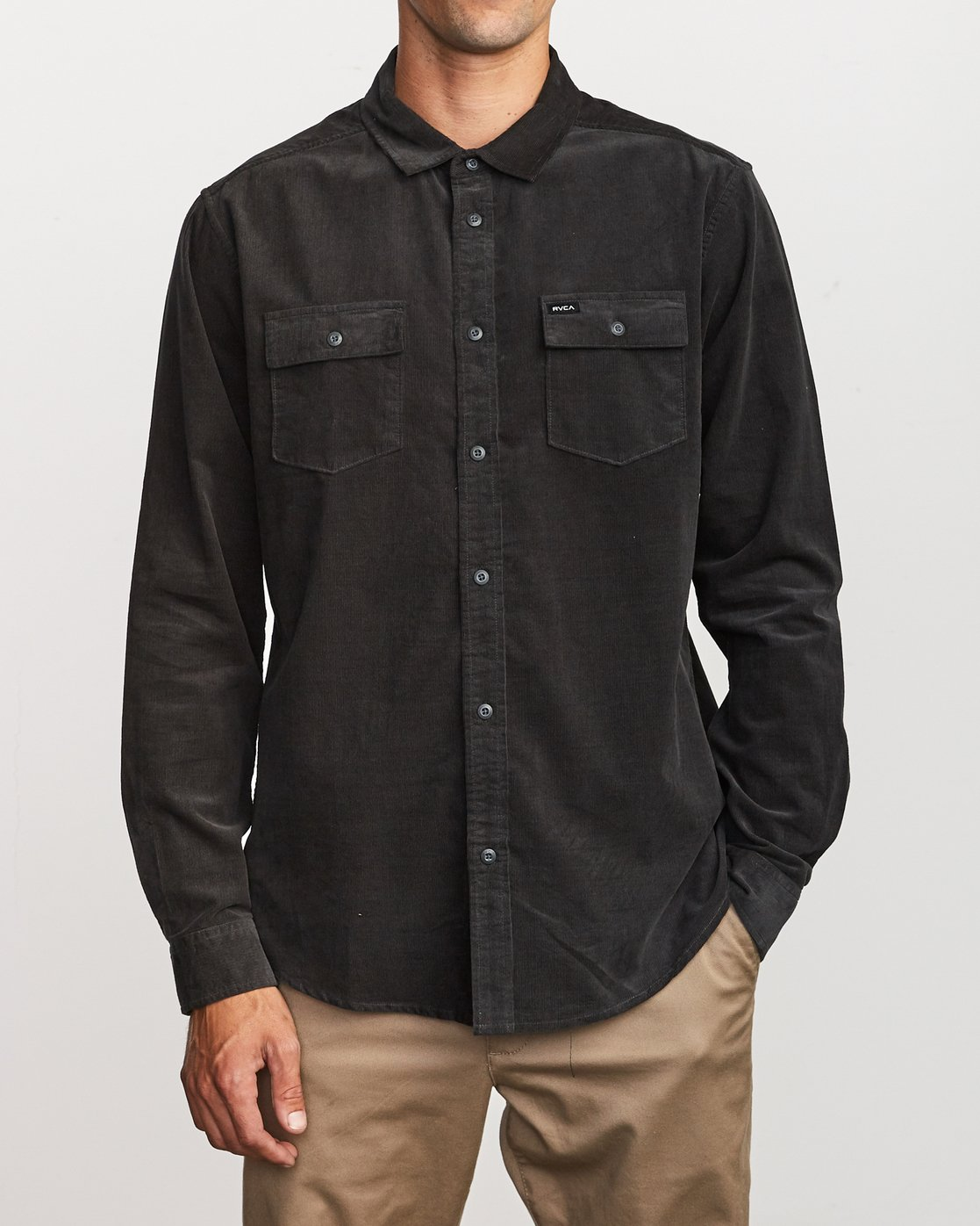 2 Freeman Corduroy Long Sleeve Shirt Black M552VRFC RVCA