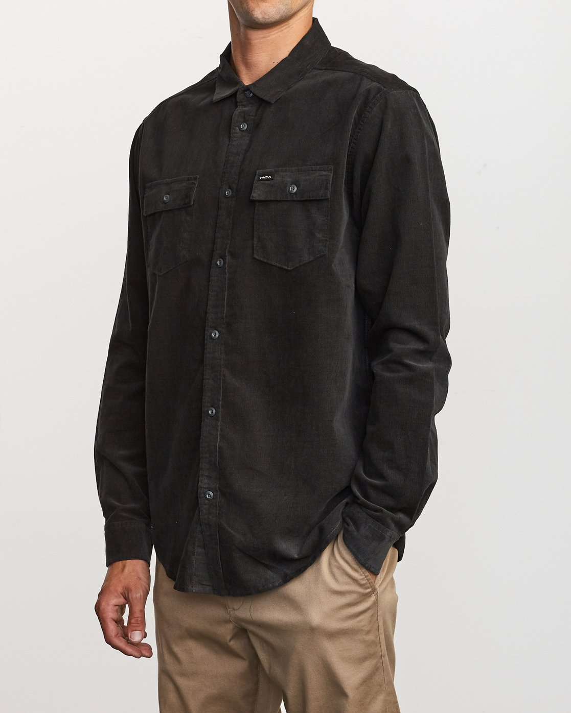 4 Freeman Corduroy Long Sleeve Shirt Black M552VRFC RVCA