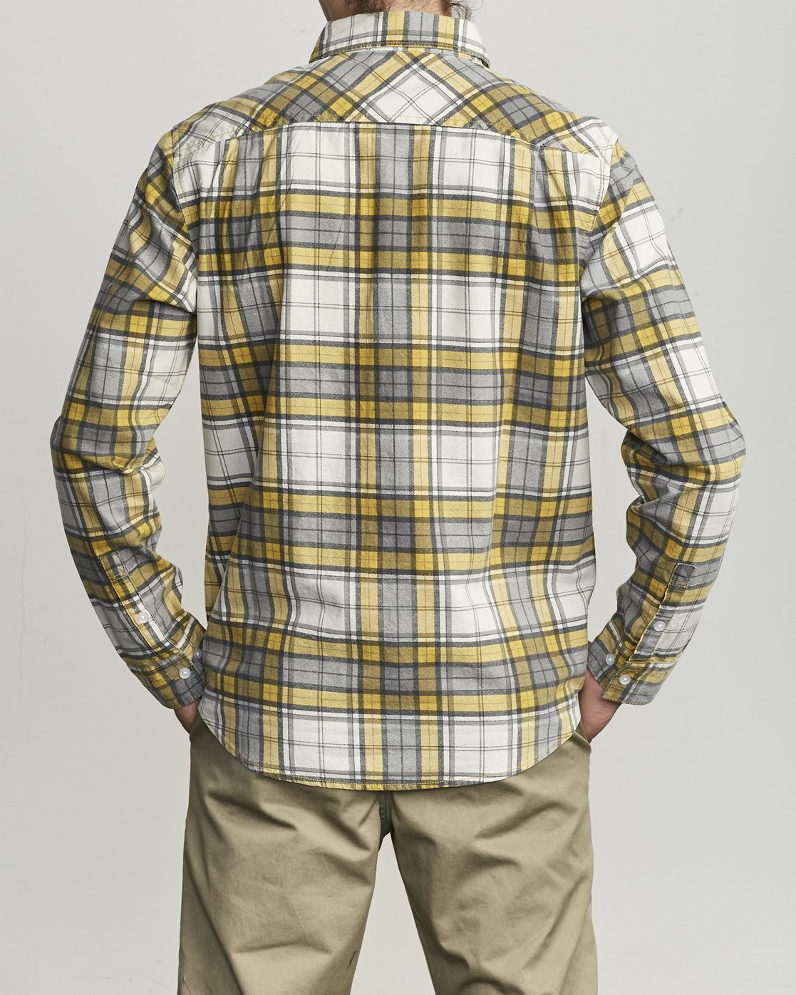 1 PANHANDLE BUTTON-UP FLANNEL Yellow M5531RPH RVCA