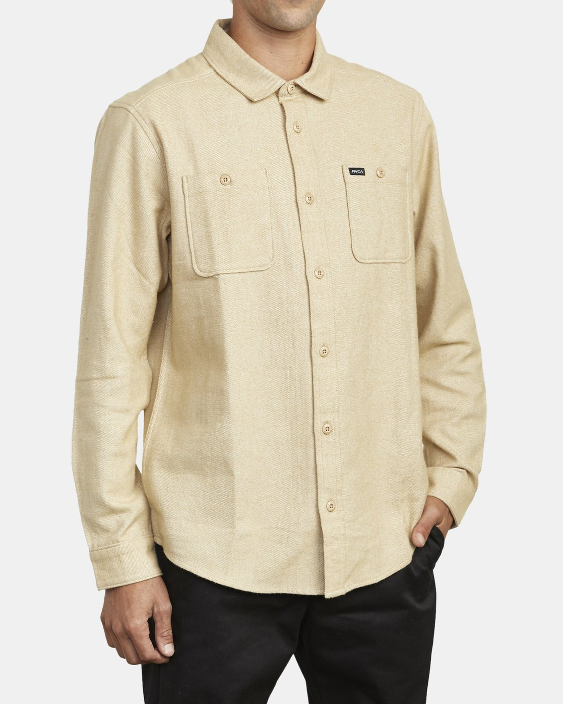 3 HARVEST LONG SLEEVE FLANNEL Beige M5533RHF RVCA