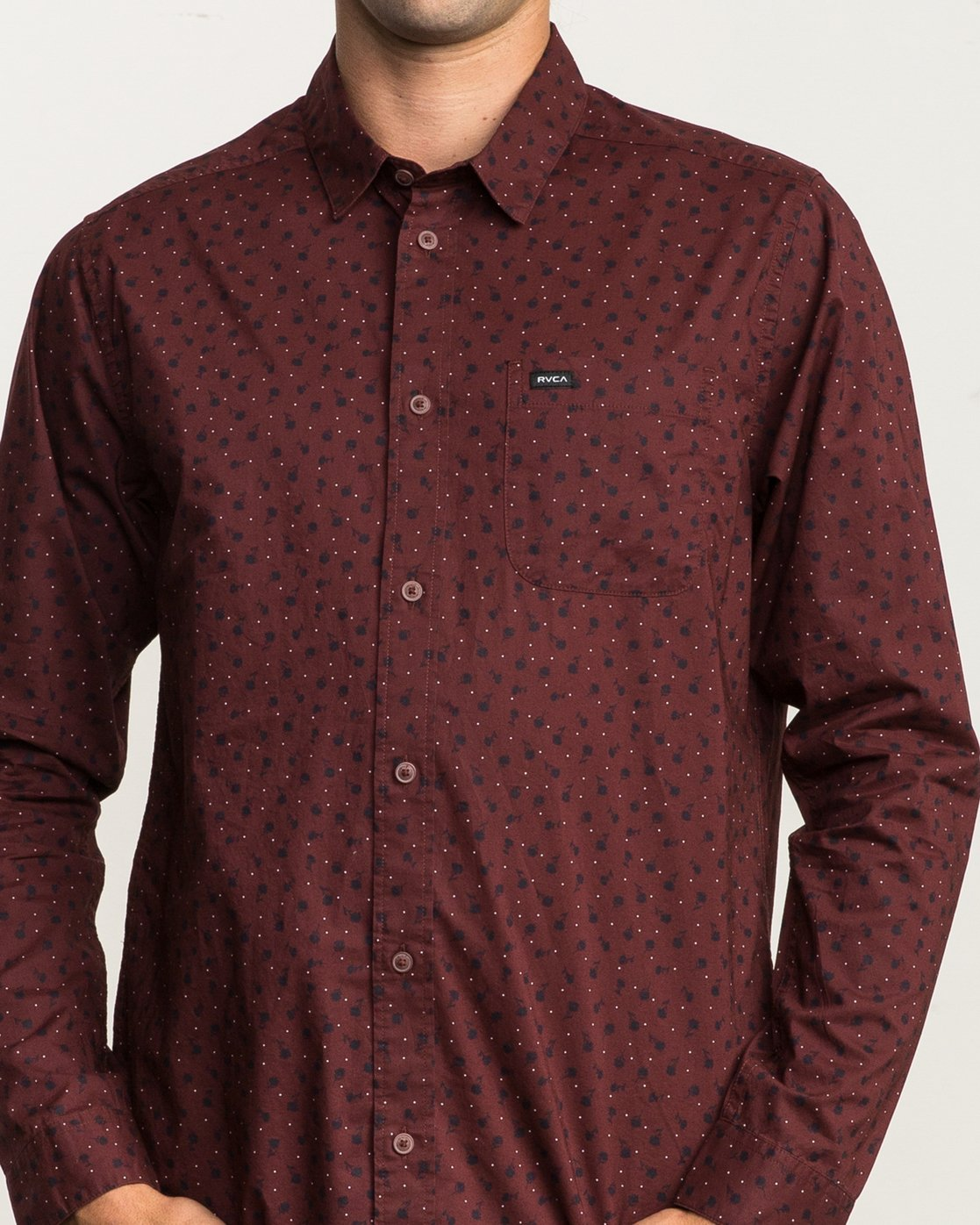 4 Vu Long Sleeve Button-Up Shirt  M553SRVU RVCA