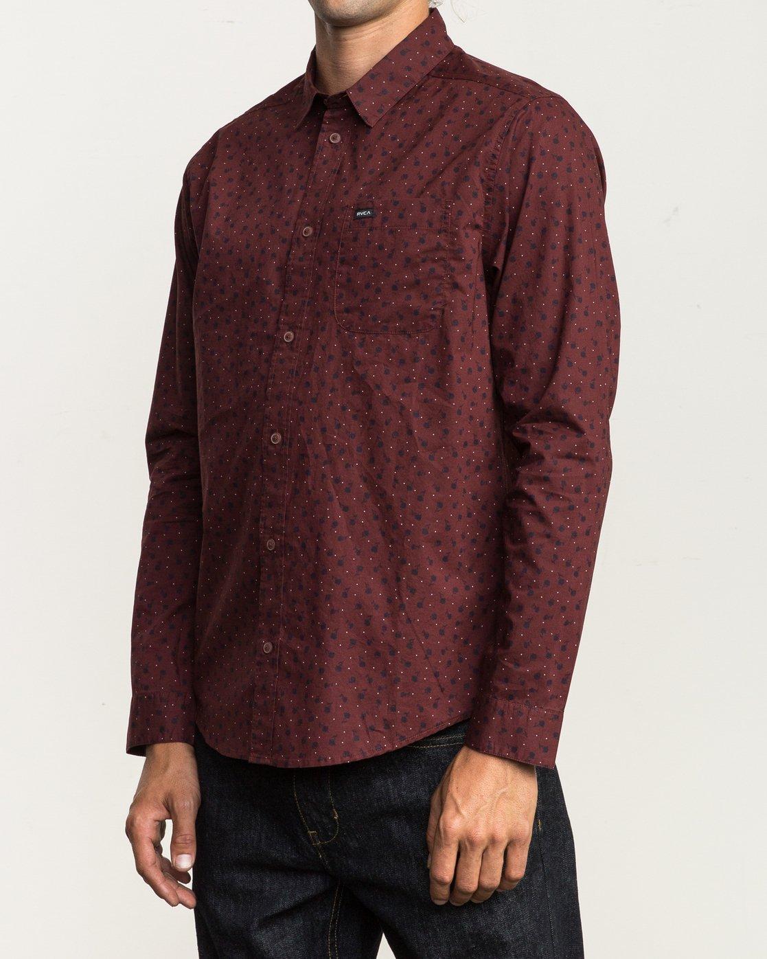 2 Vu Long Sleeve Button-Up Shirt Red M553SRVU RVCA