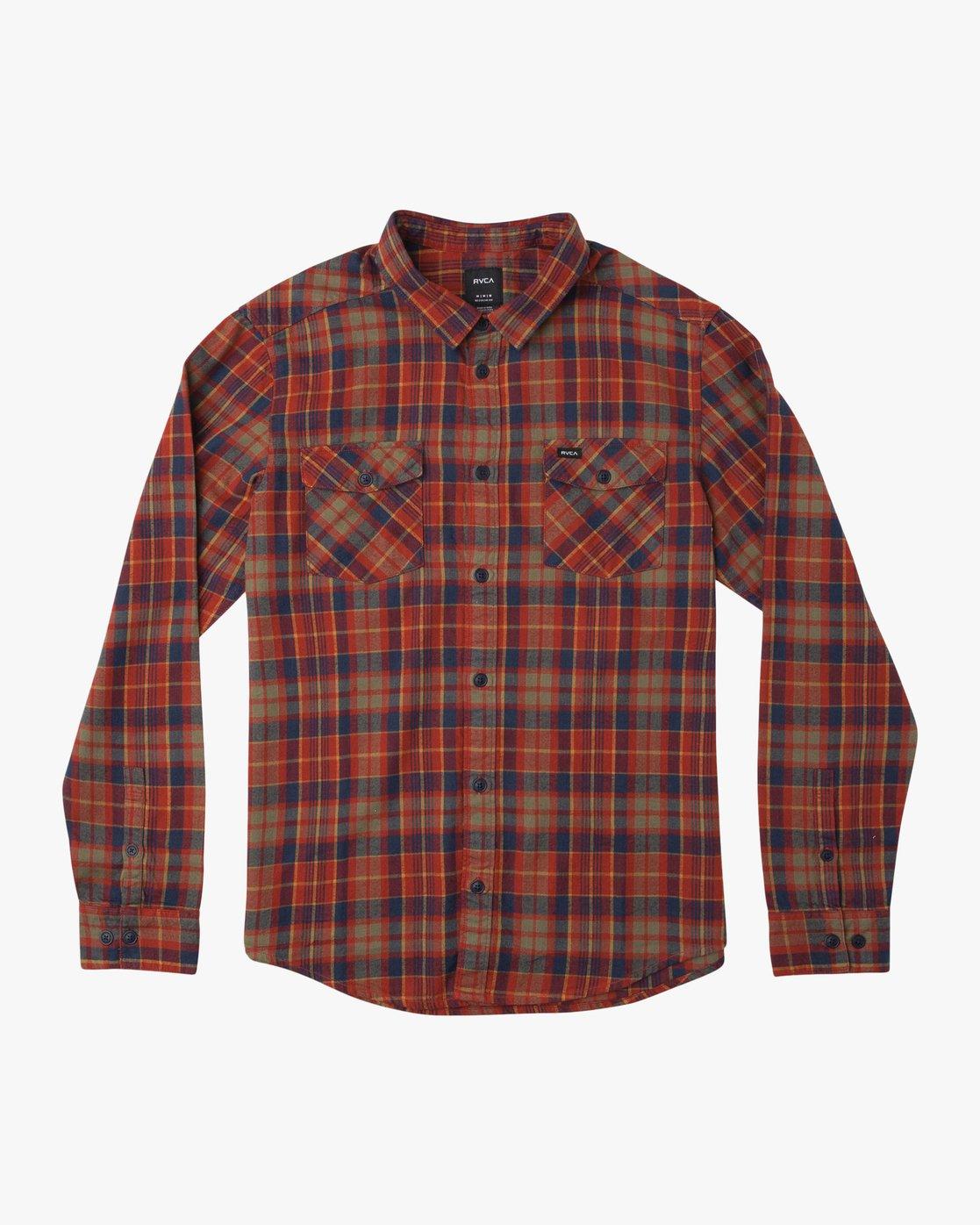 0 Watt Plaid Long Sleeve Flannel Red M553TRWF RVCA