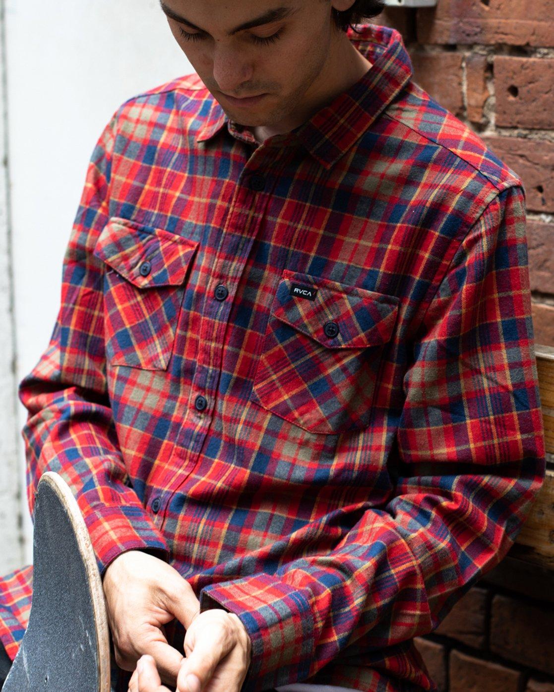 1 Watt Plaid Long Sleeve Flannel Red M553TRWF RVCA