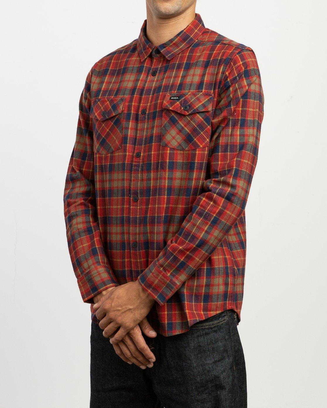 3 Watt Plaid Long Sleeve Flannel Red M553TRWF RVCA