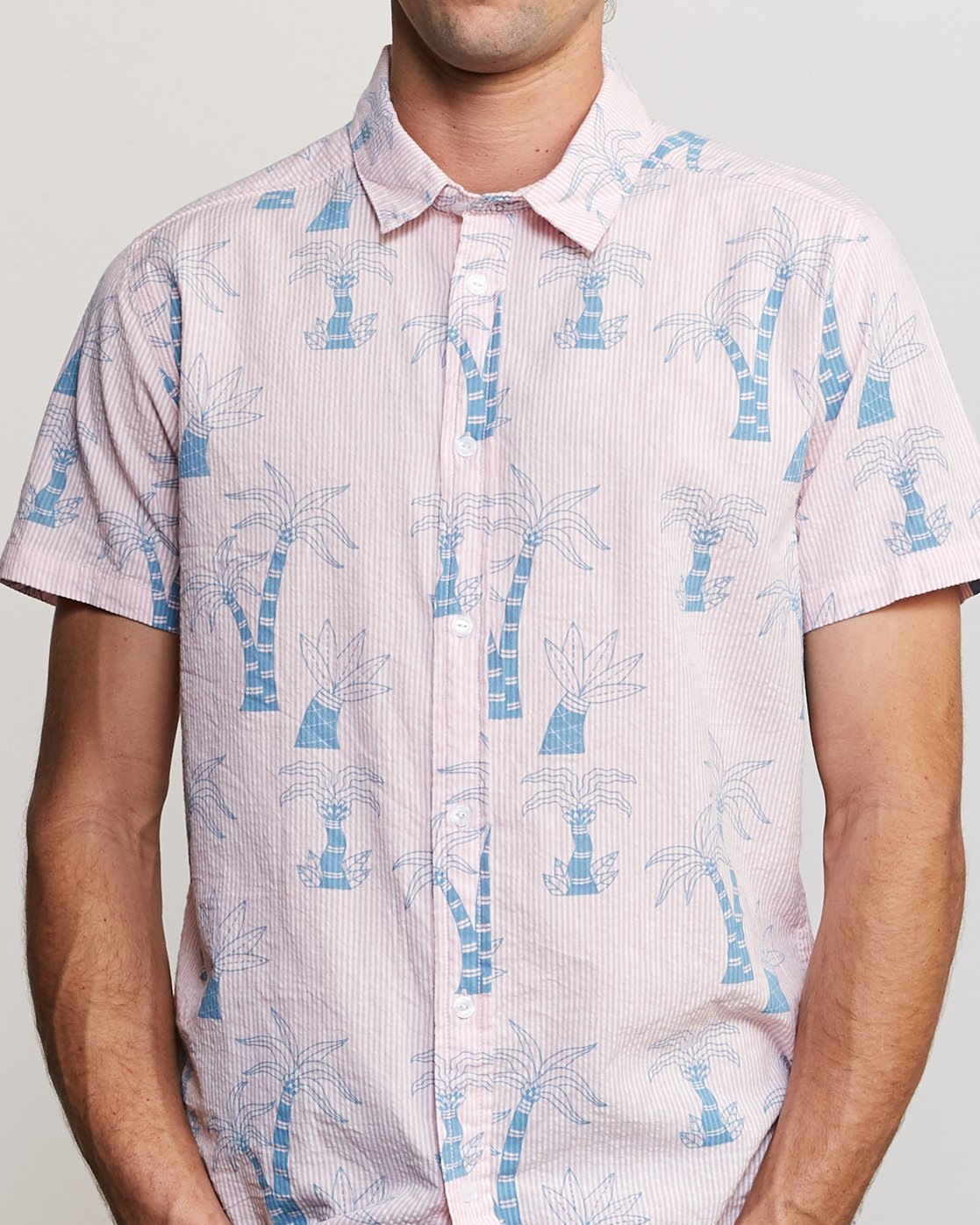 5 Liu-Wong Palms Button-Up Shirt Pink M553URLP RVCA