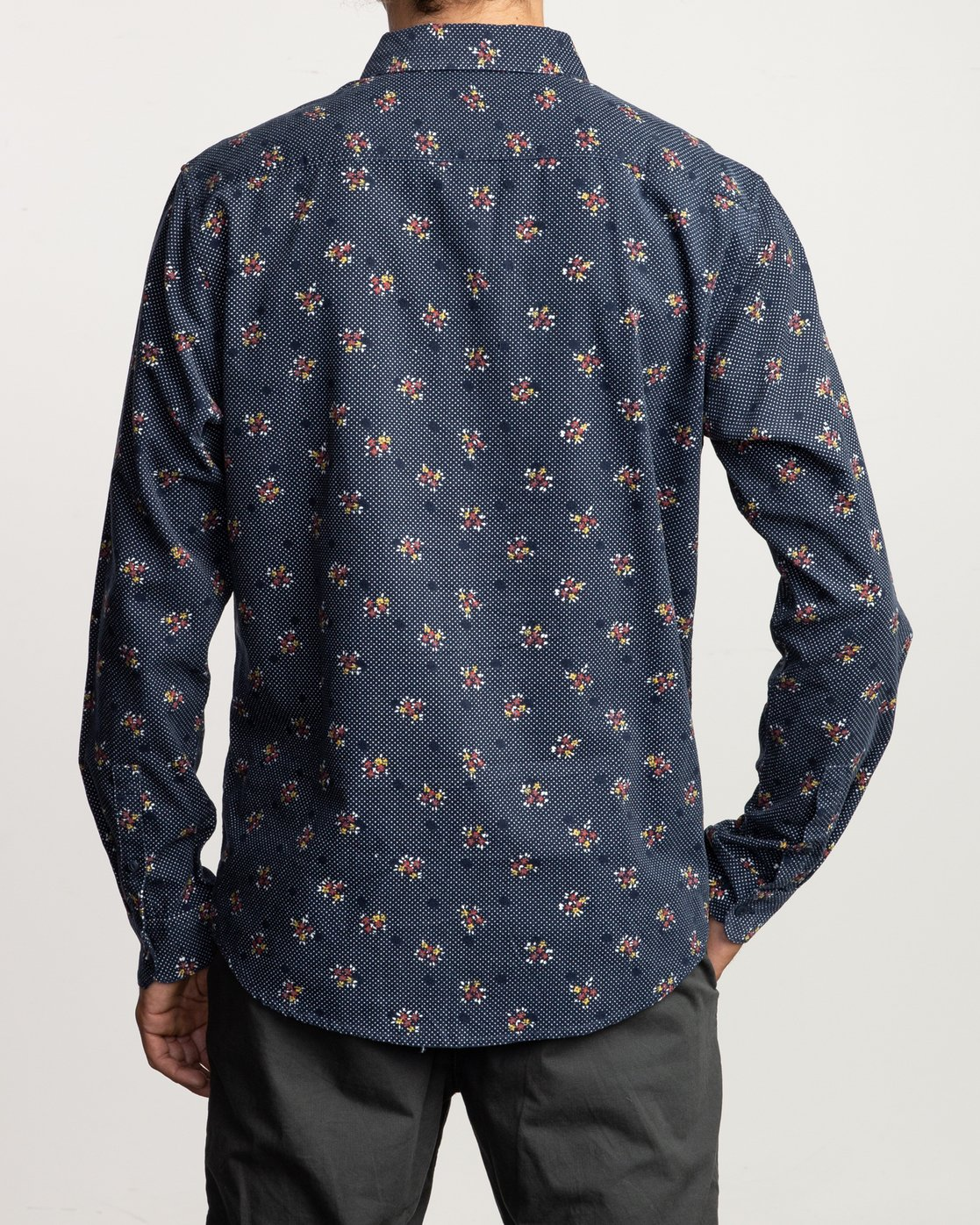 1 Post Wave Corduroy Long Sleeve Shirt Blue M553VRPW RVCA