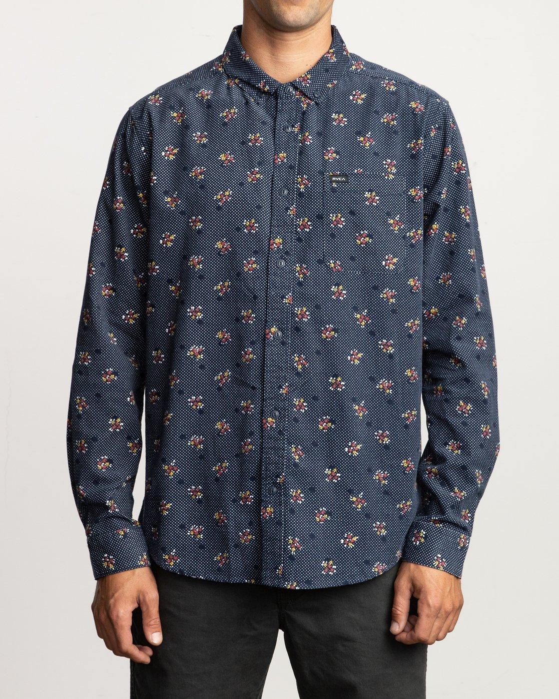 0 Post Wave Corduroy Long Sleeve Shirt Blue M553VRPW RVCA