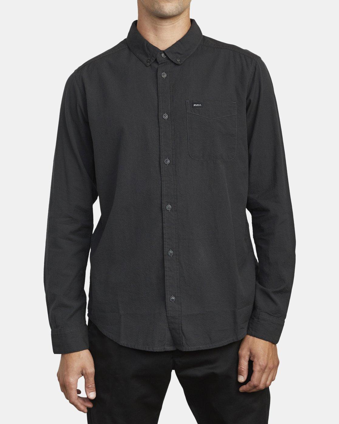 0 Endless Seersucker Long Sleeve Shirt Grey M553WREN RVCA