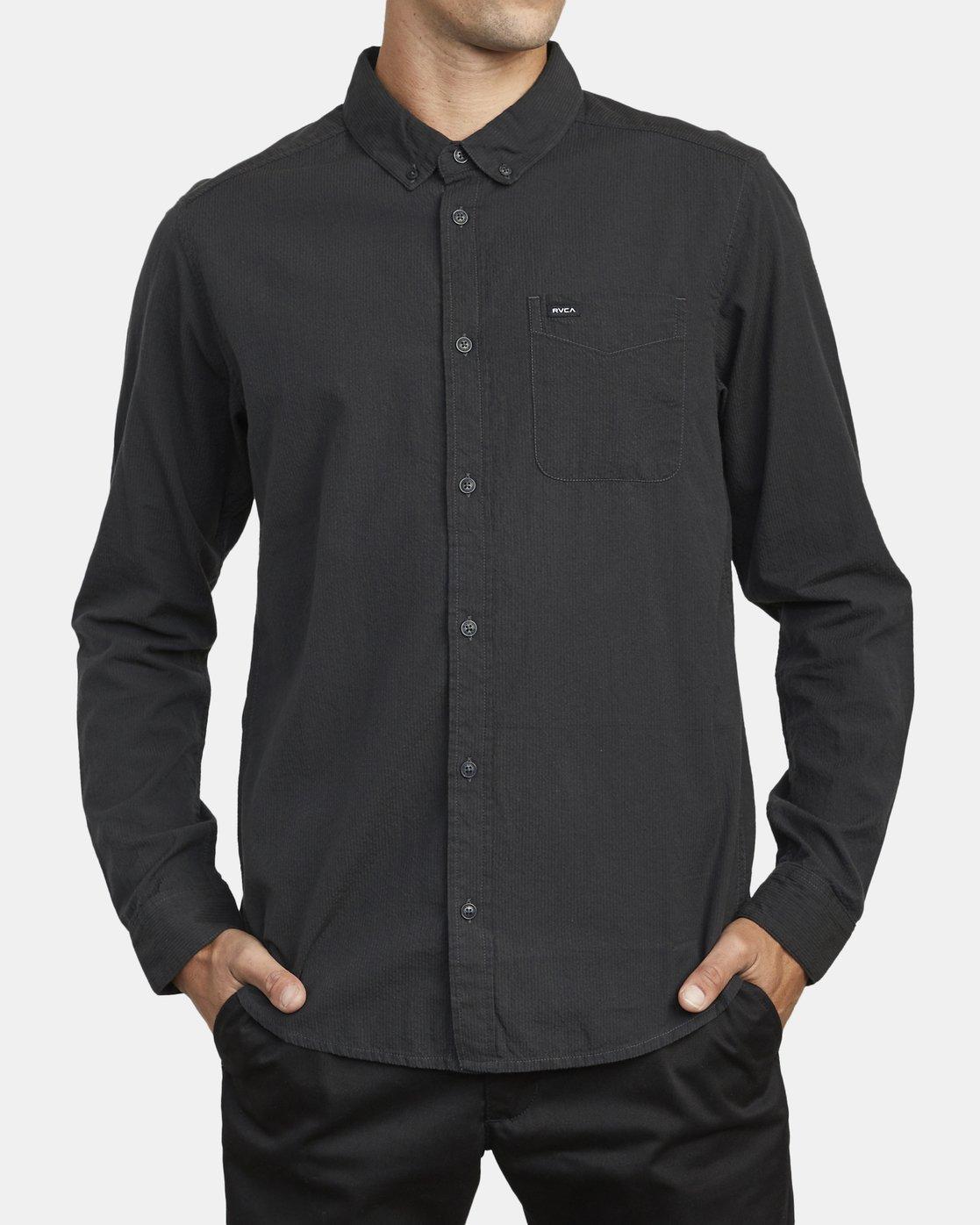 1 Endless Seersucker Long Sleeve Shirt Grey M553WREN RVCA