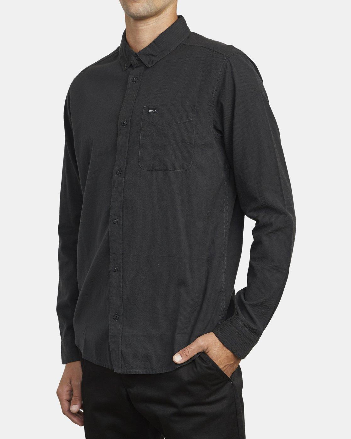 4 Endless Seersucker Long Sleeve Shirt Grey M553WREN RVCA