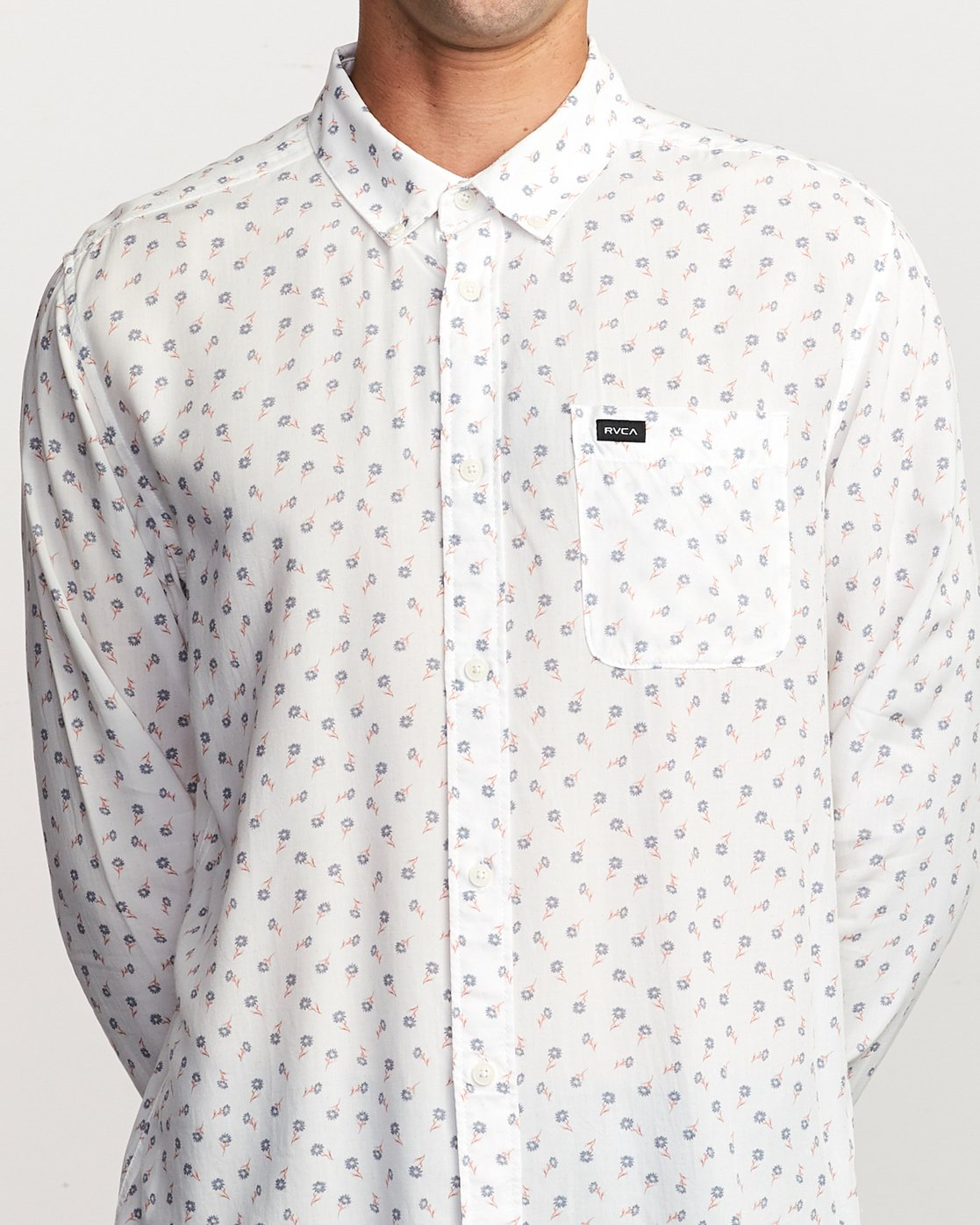 3 Prelude Floral Long Sleeve Shirt White M554VRPF RVCA