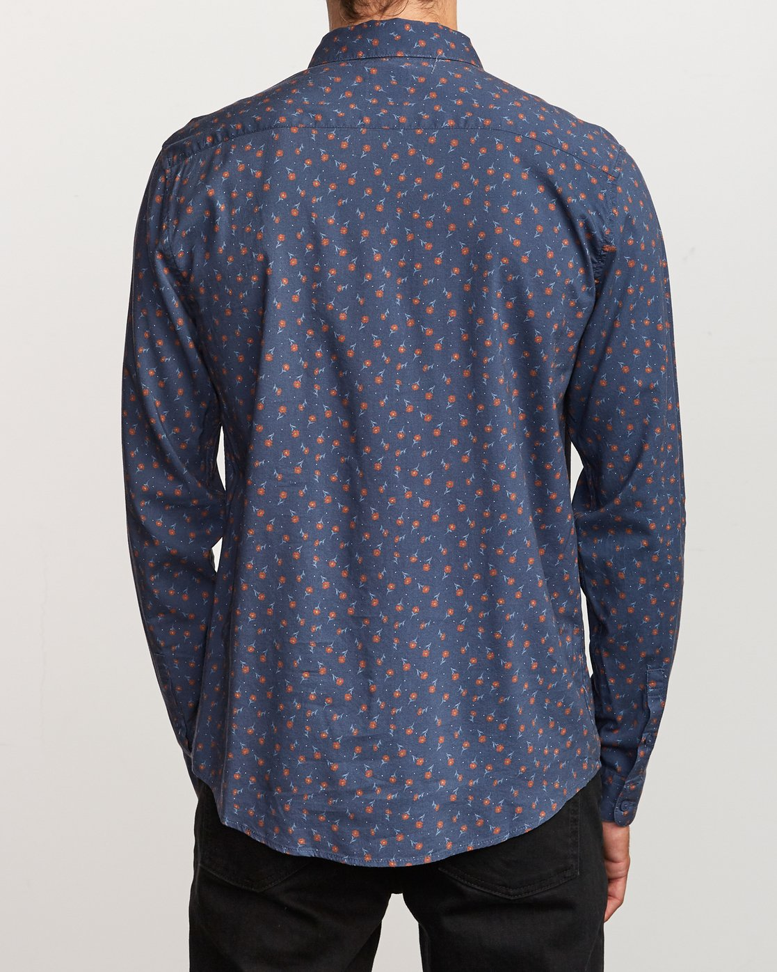 3 Prelude Floral Long Sleeve Shirt Blue M554VRPF RVCA