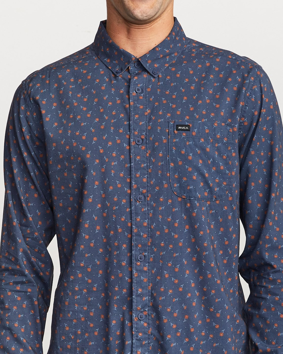 4 Prelude Floral Long Sleeve Shirt Blue M554VRPF RVCA