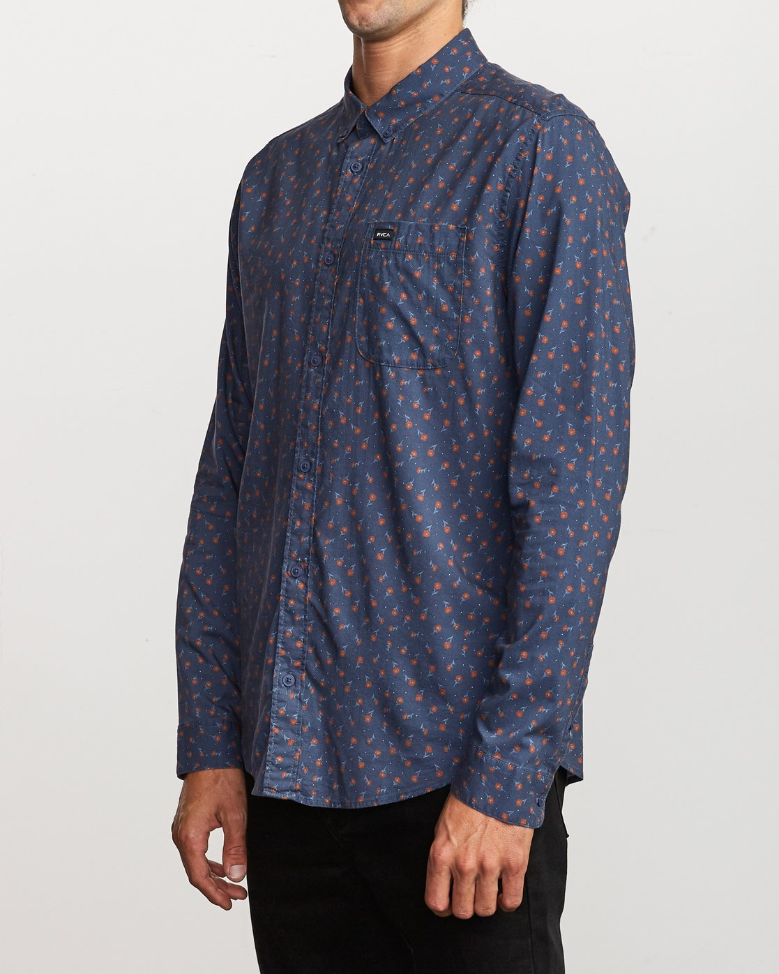 2 Prelude Floral Long Sleeve Shirt Blue M554VRPF RVCA