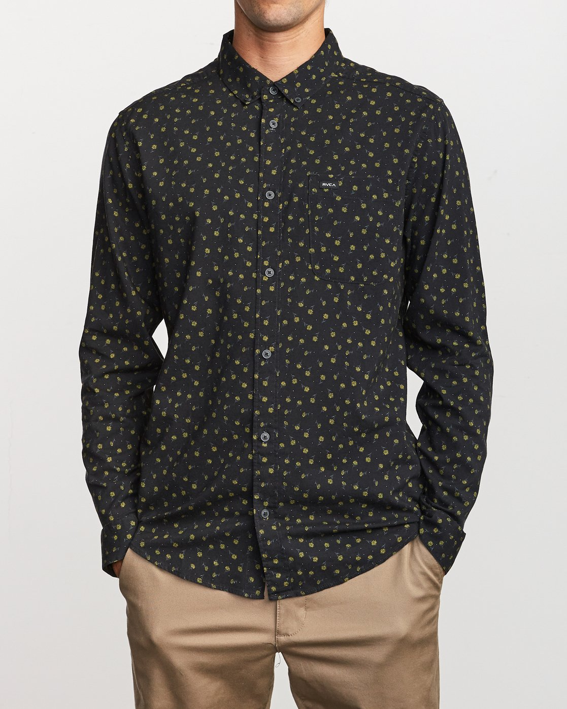 0 Prelude Floral Long Sleeve Shirt Black M554VRPF RVCA