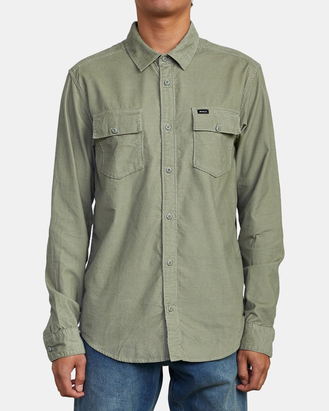 1 FREEMAN CORD LONG SLEEVE SHIRT Green M5583RFC RVCA