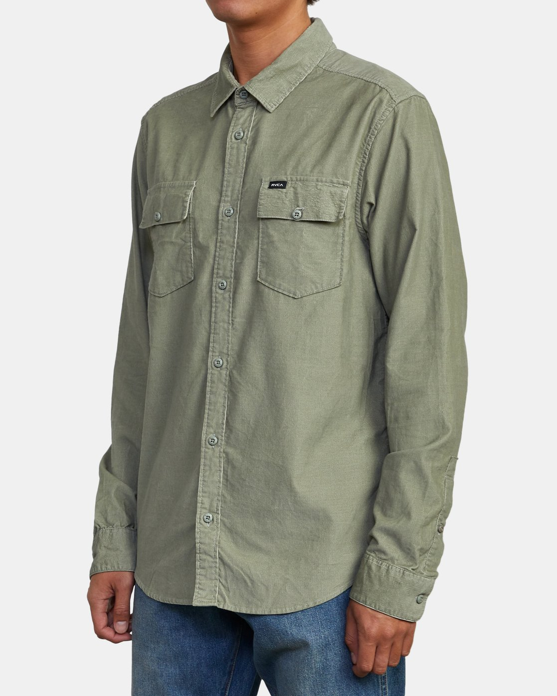 3 FREEMAN CORD LONG SLEEVE SHIRT Green M5583RFC RVCA