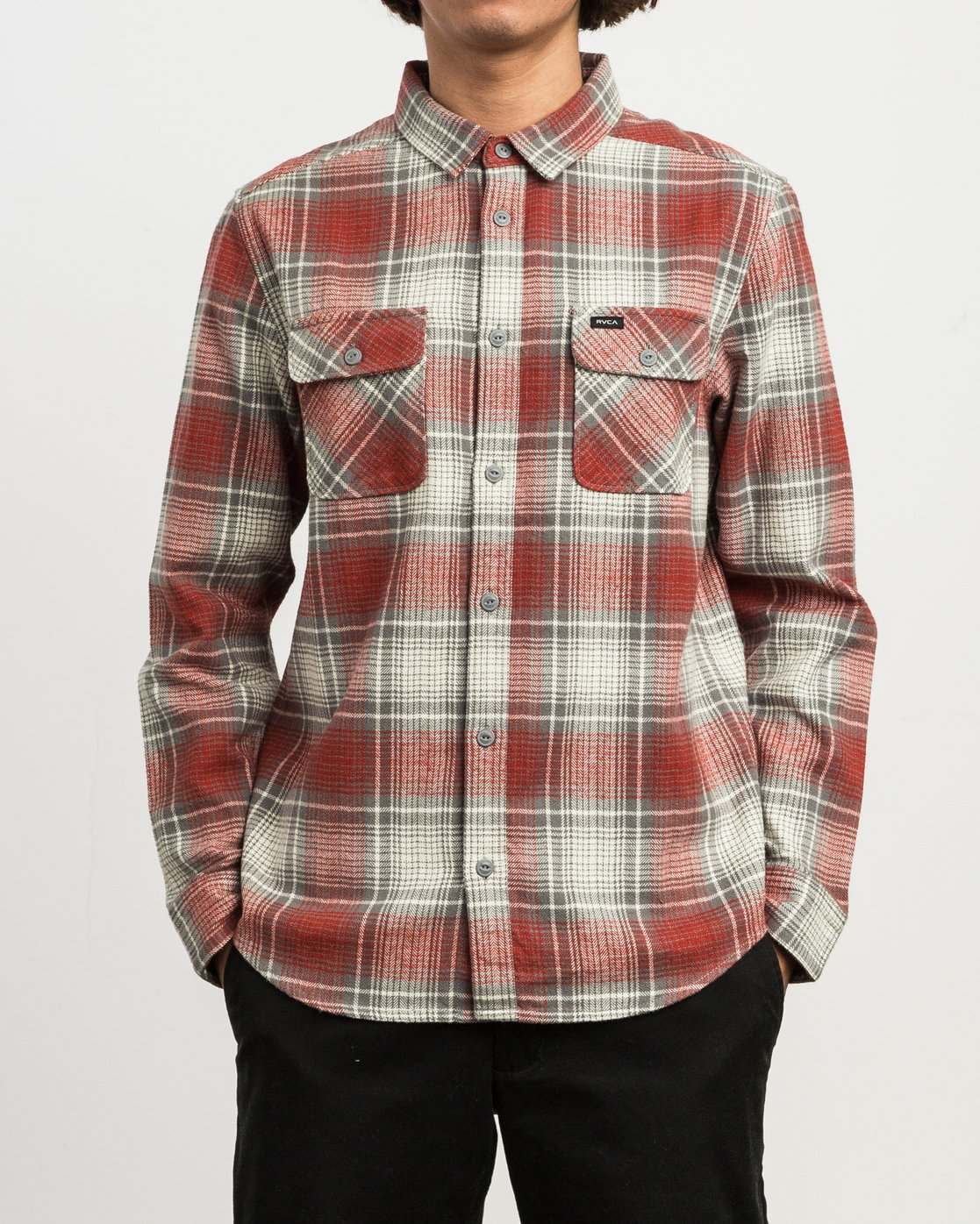 1 High Plains Plaid Flannel Grey M558SRHP RVCA