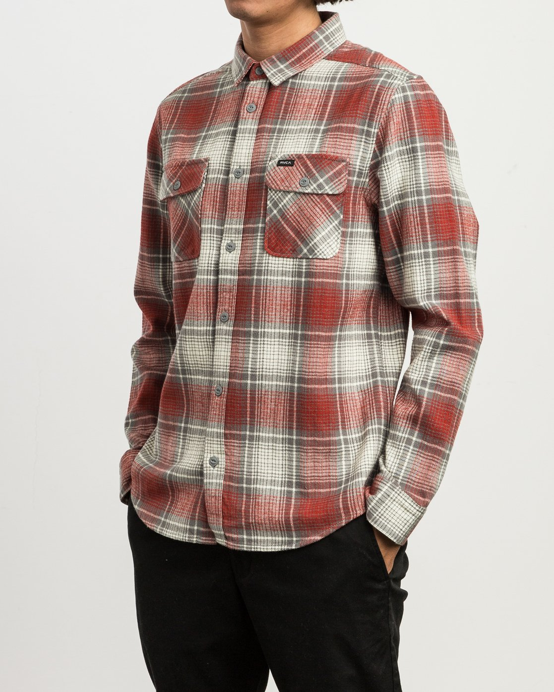 2 High Plains Plaid Flannel Grey M558SRHP RVCA