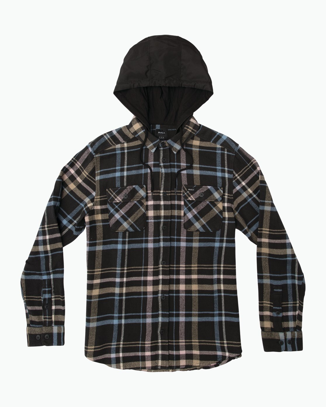 0 Essex Plaid Hooded Flannel Black M561SRSW RVCA