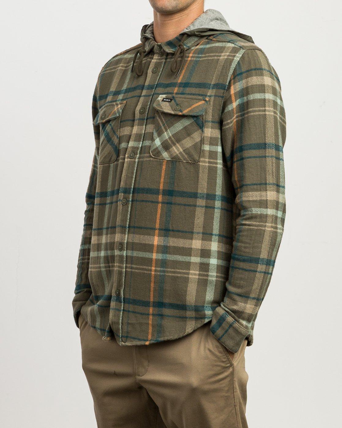 2 Essex Plaid Hooded Flannel Green M561SRSW RVCA
