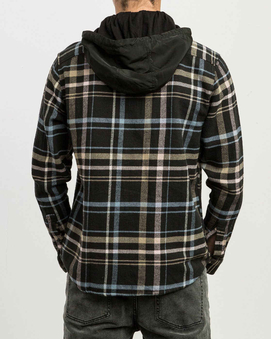 3 Essex Plaid Hooded Flannel Black M561SRSW RVCA