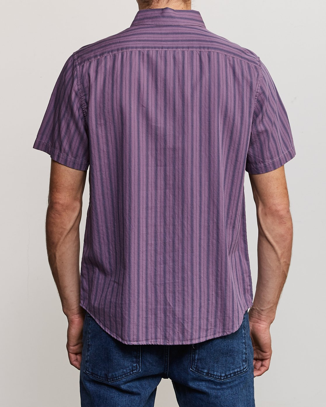 3 Shuffle Stripe Button-Up Shirt Purple M564URAS RVCA