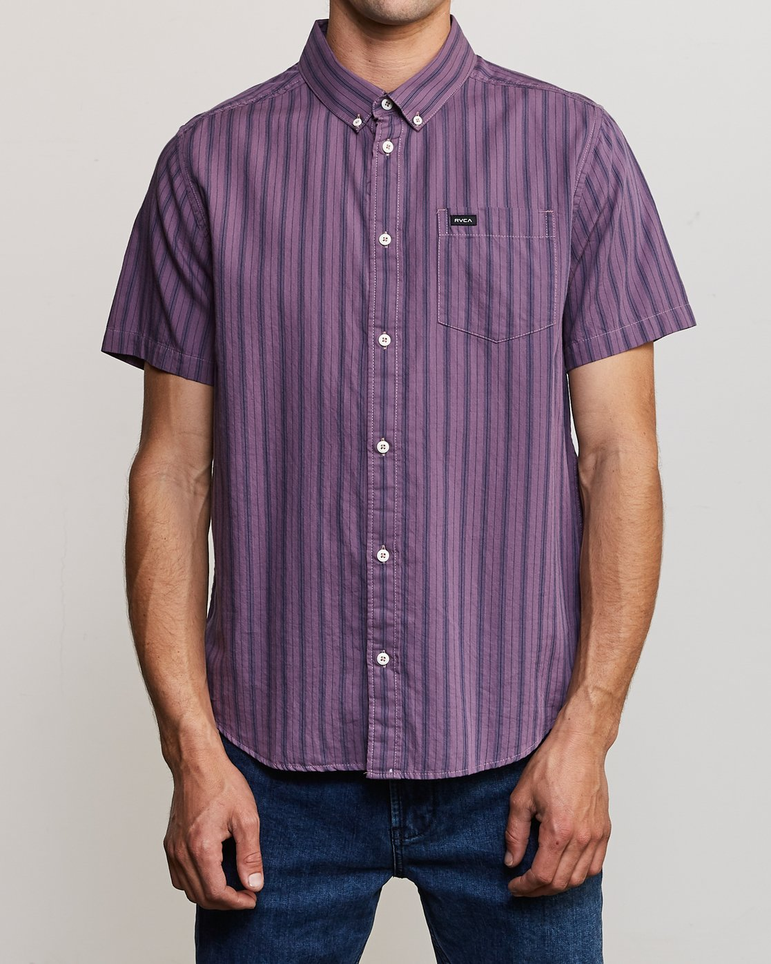 1 Shuffle Stripe Button-Up Shirt Purple M564URAS RVCA