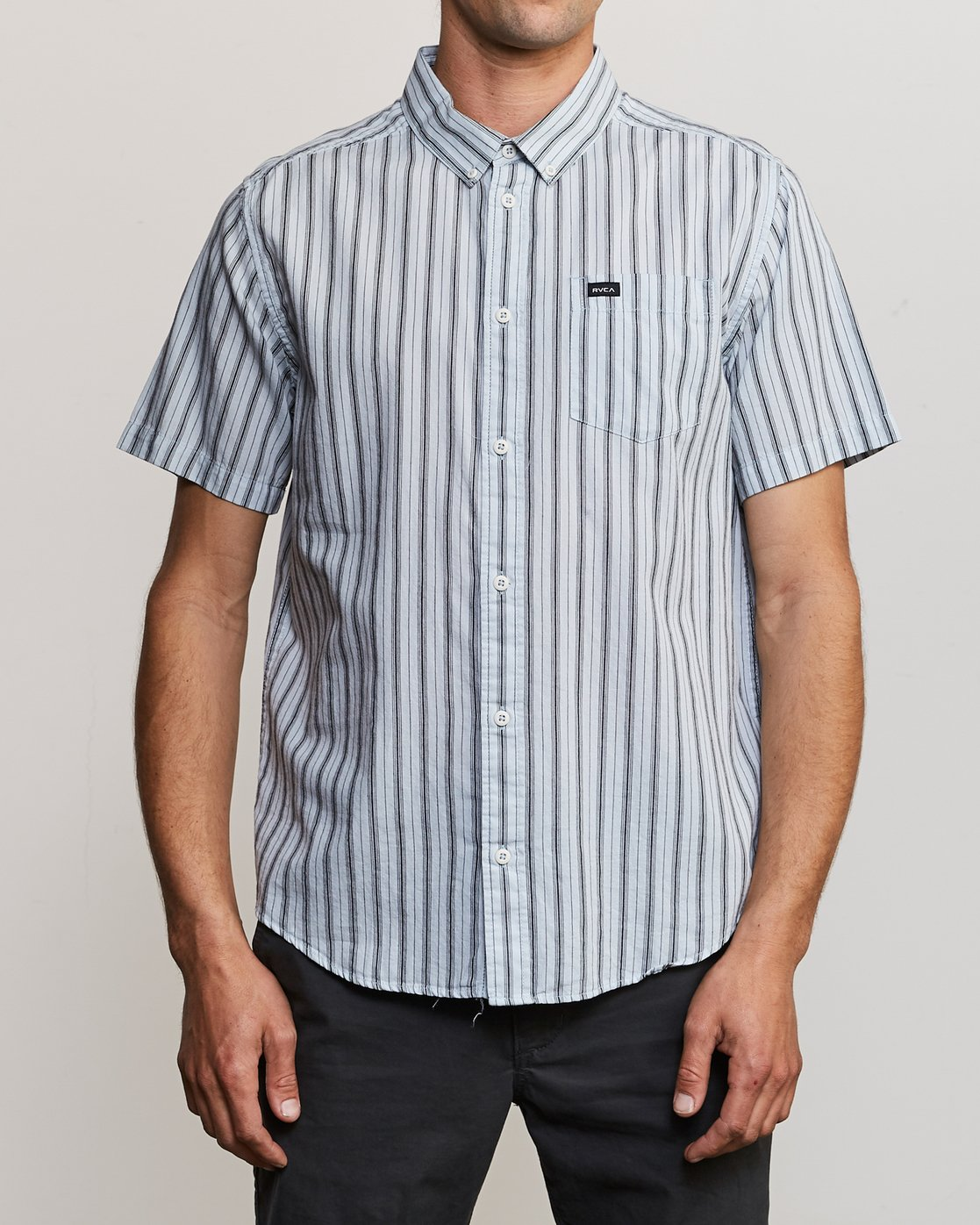 0 Shuffle Stripe Button-Up Shirt White M564URAS RVCA
