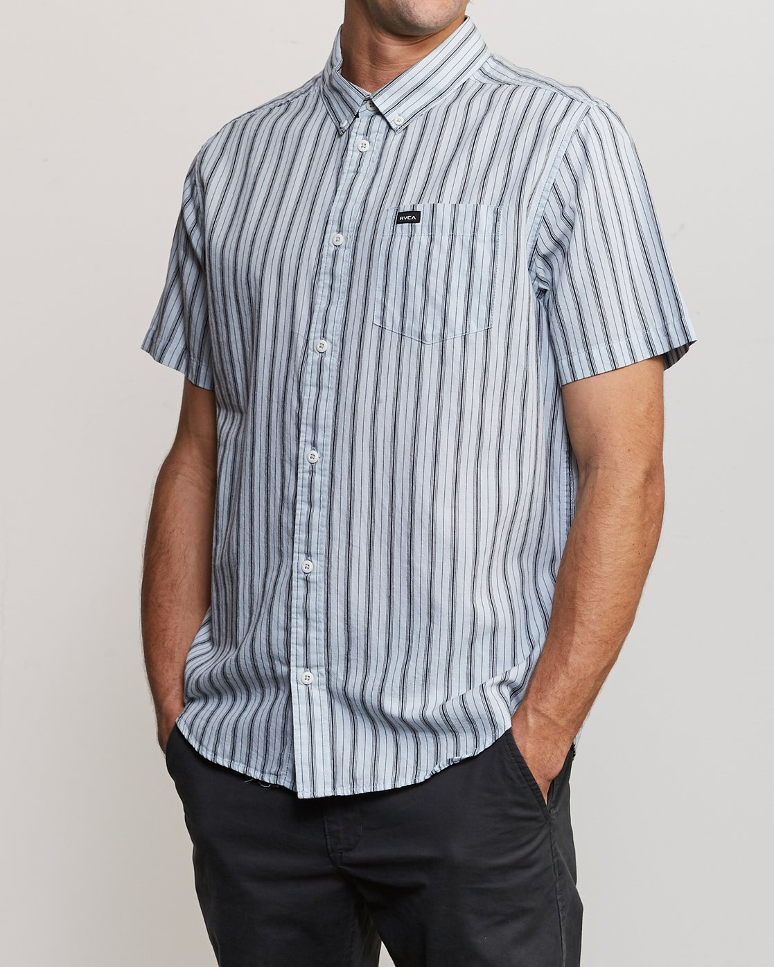2 Shuffle Stripe Button-Up Shirt White M564URAS RVCA