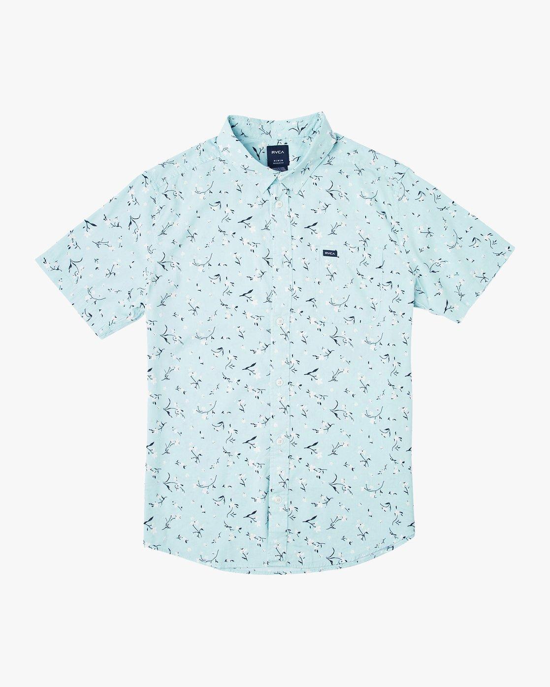 4 Elegie Floral Button-Up Shirt Blue M565UREF RVCA