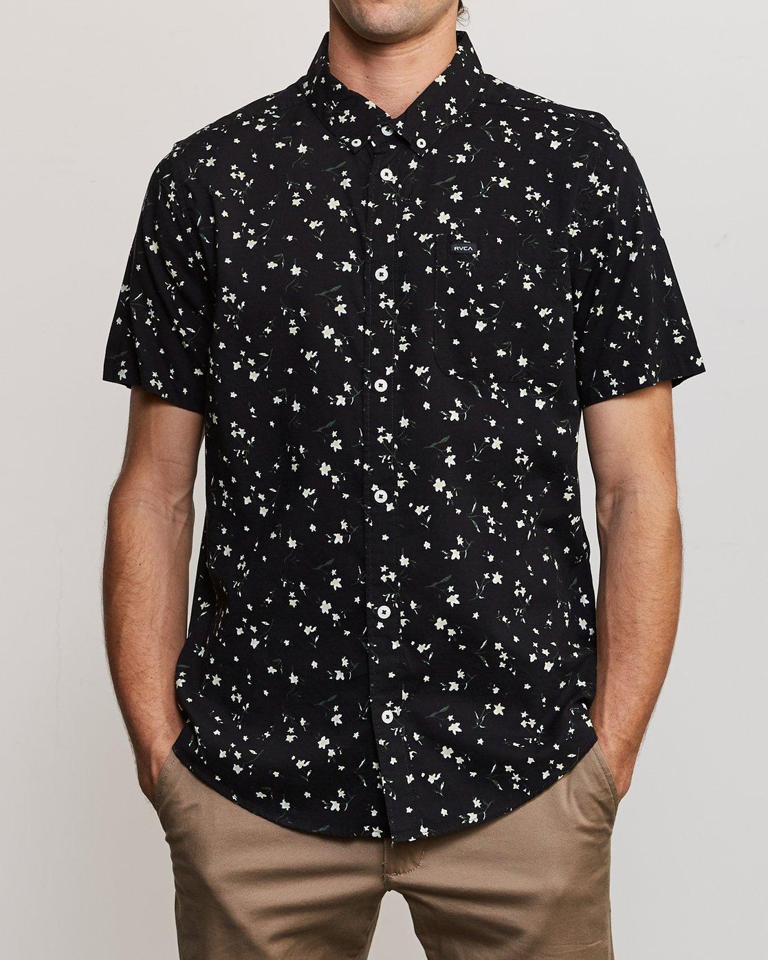 1 Elegie Floral Button-Up Shirt Black M565UREF RVCA