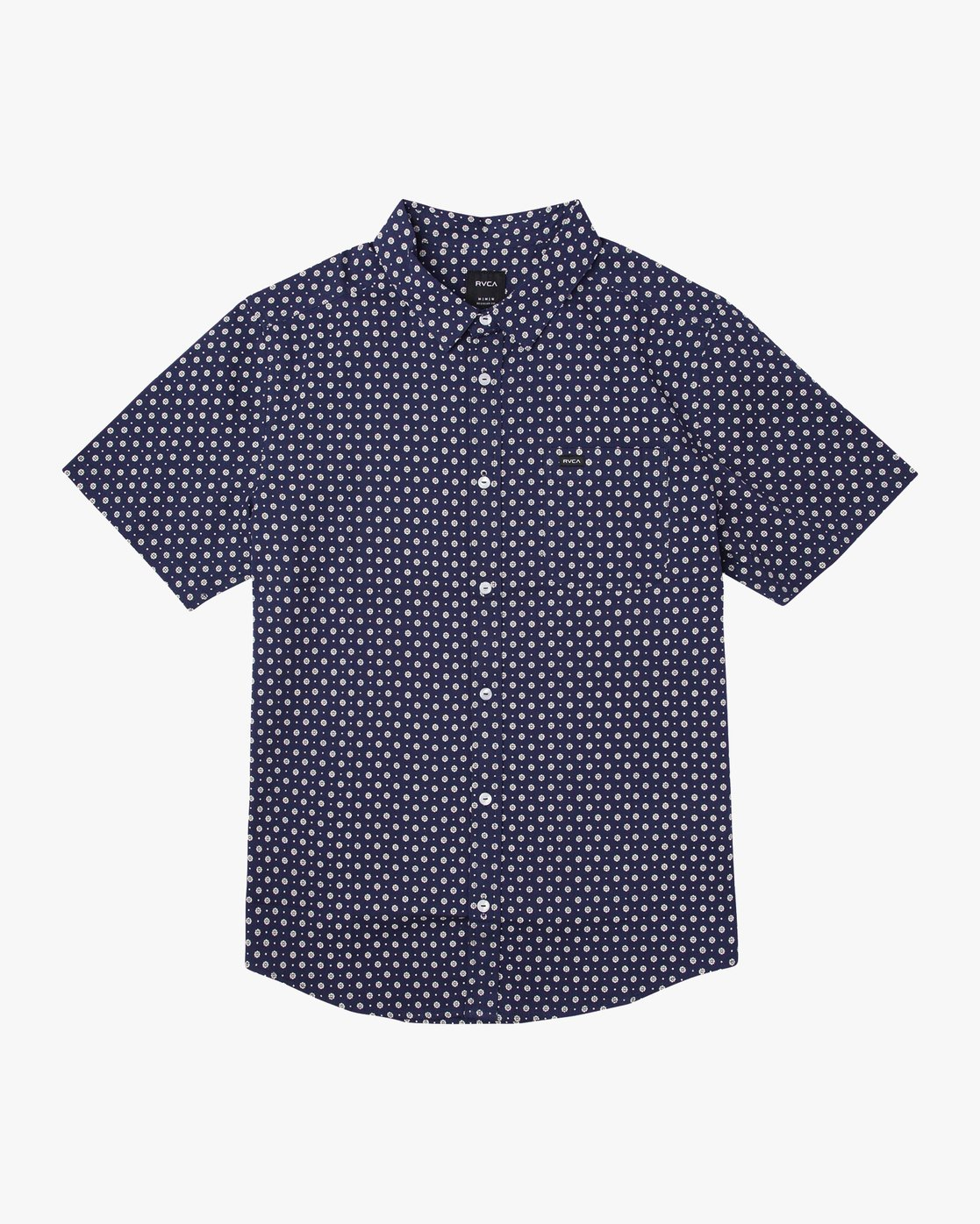 4 Gauze Dot Button-Up Shirt Blue M566URPD RVCA