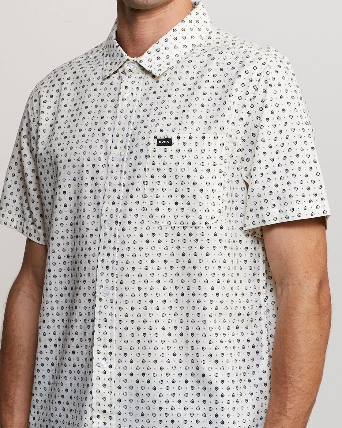 3 Gauze Dot Button-Up Shirt White M566URPD RVCA