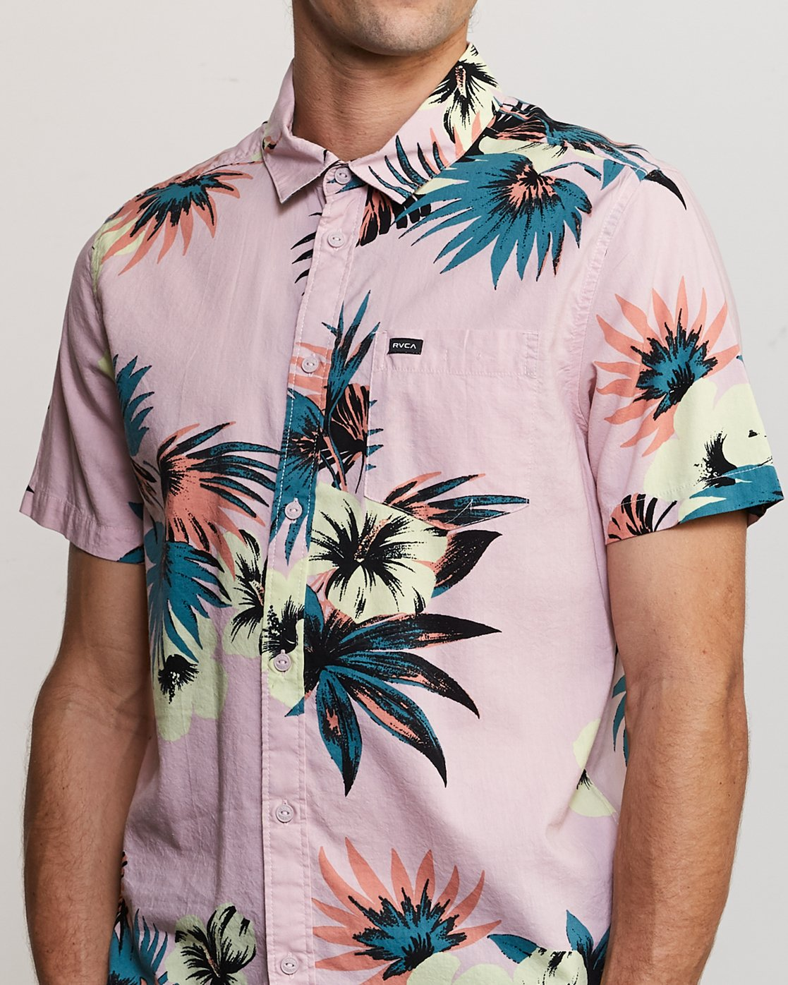 4 Romeo Floral Button-Up Shirt Pink M567URRF RVCA