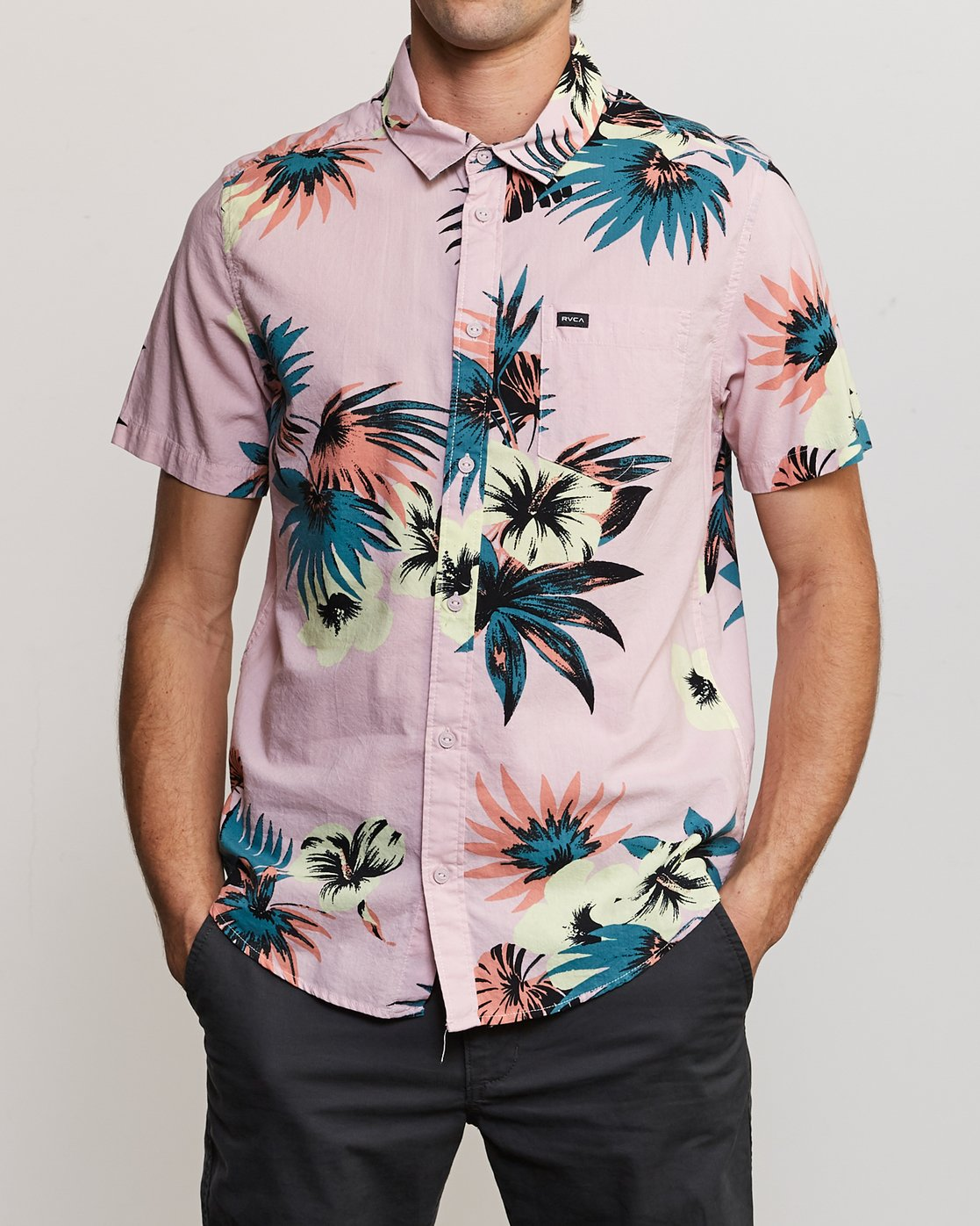 1 Romeo Floral Button-Up Shirt Pink M567URRF RVCA