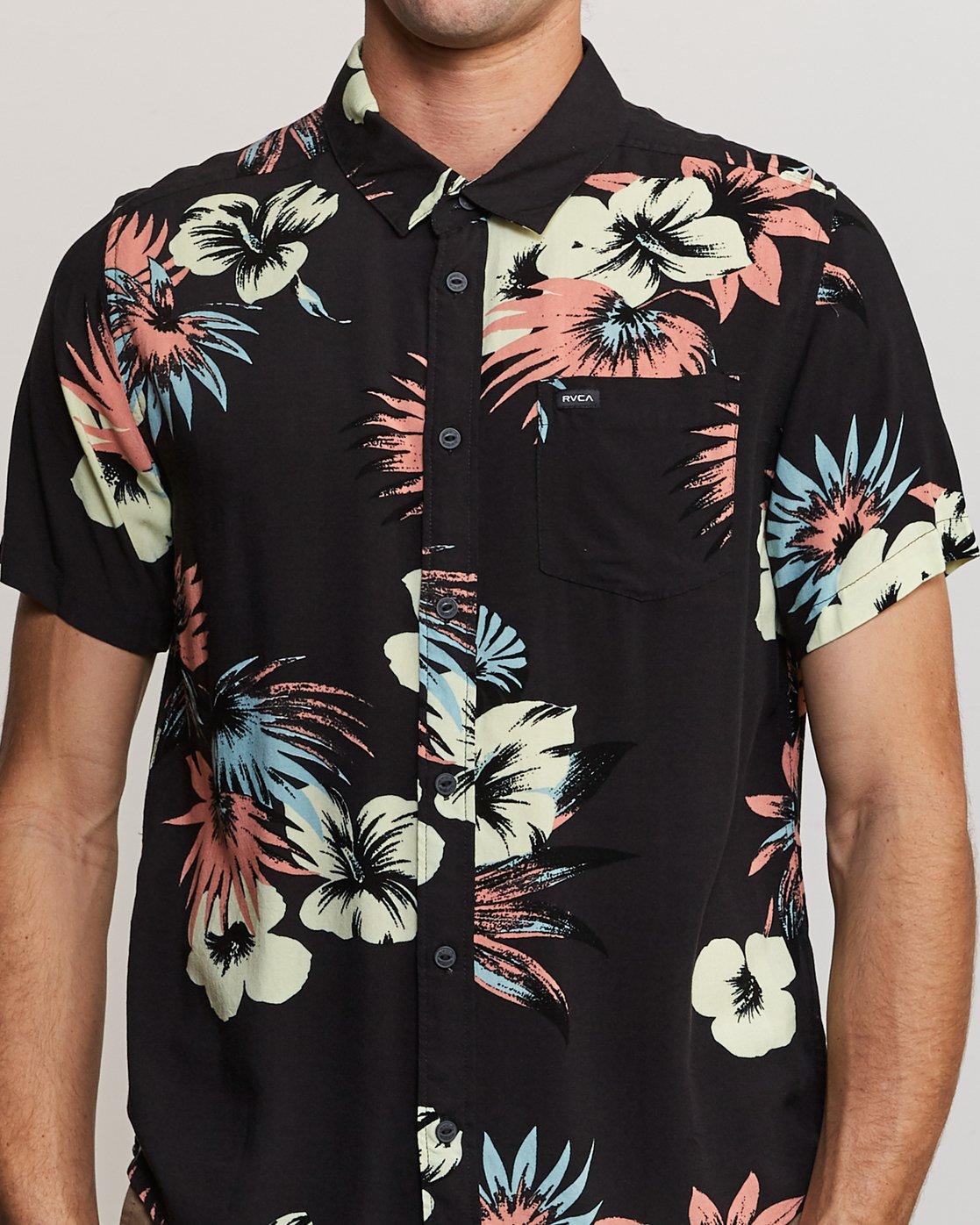 4 Romeo Floral Button-Up Shirt Black M567URRF RVCA