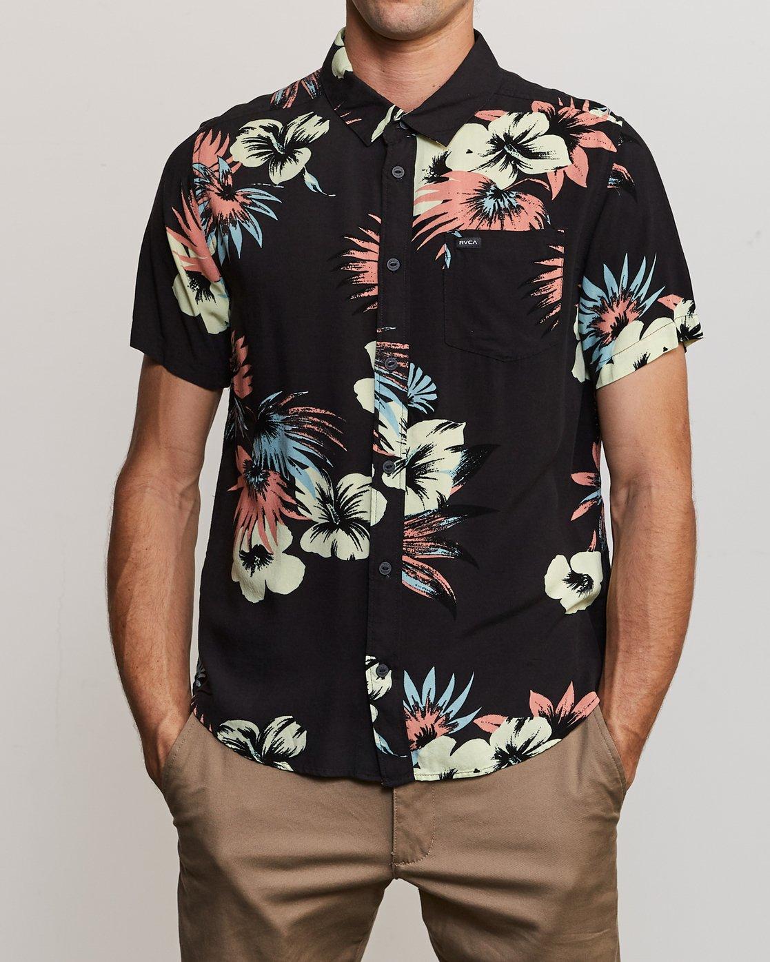 1 Romeo Floral Button-Up Shirt Black M567URRF RVCA