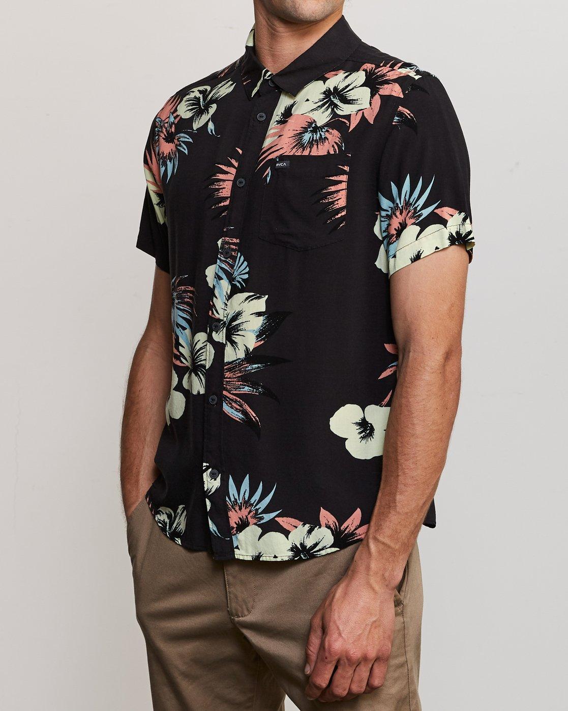 2 Romeo Floral Button-Up Shirt Black M567URRF RVCA