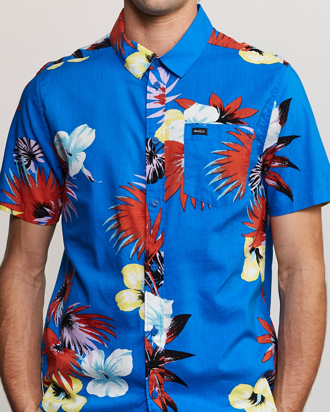 5 Romeo Floral Button-Up Shirt Blue M567URRF RVCA