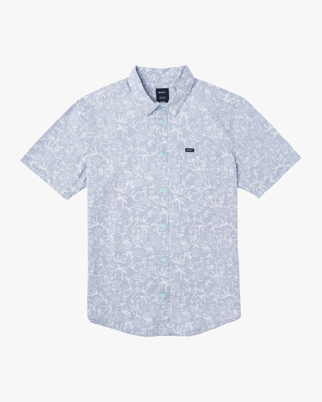 0 Sketchy Palms Button-Up Shirt Blue M572URSP RVCA