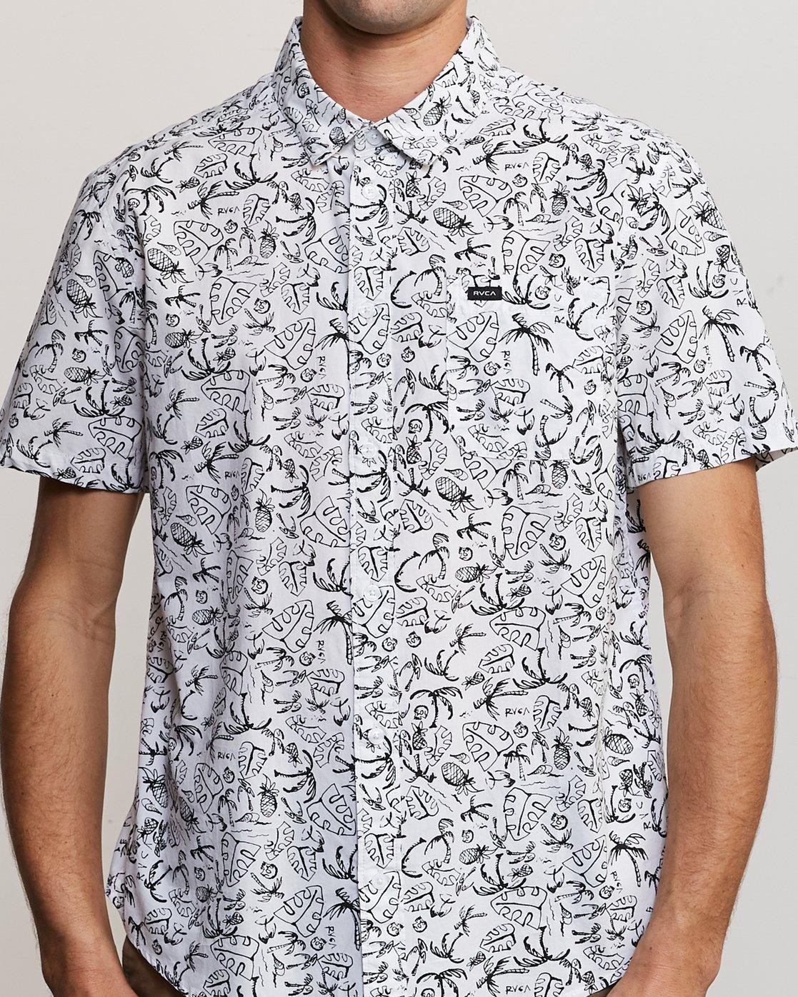 4 Sketchy Palms Button-Up Shirt White M572URSP RVCA