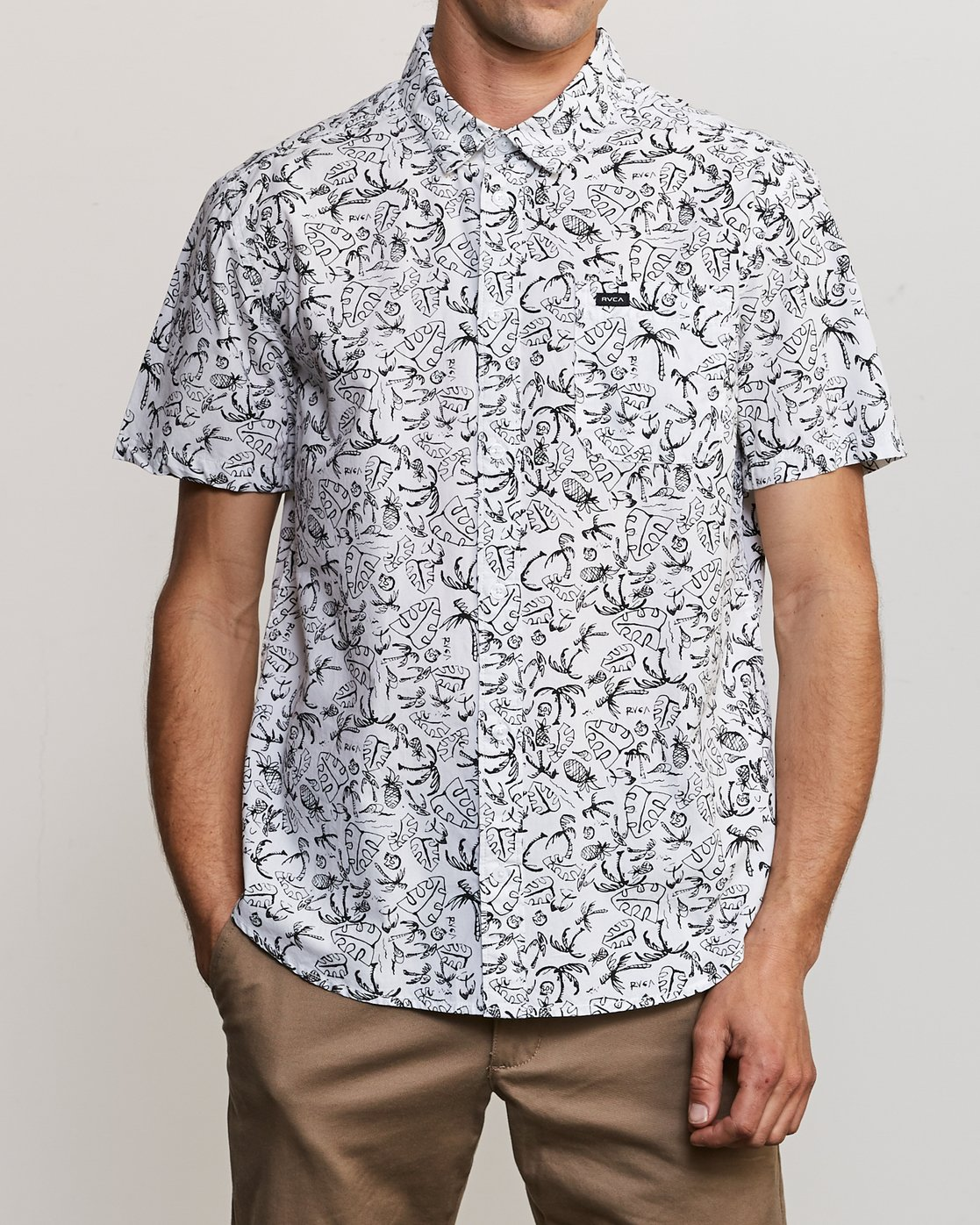 1 Sketchy Palms Button-Up Shirt White M572URSP RVCA