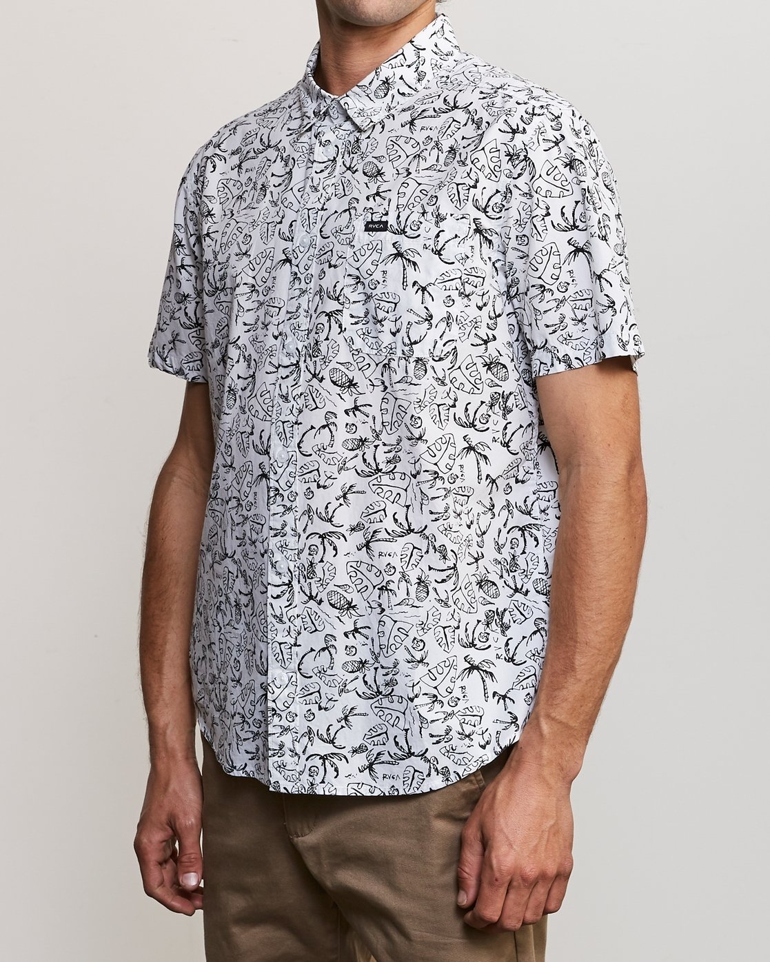 2 Sketchy Palms Button-Up Shirt White M572URSP RVCA