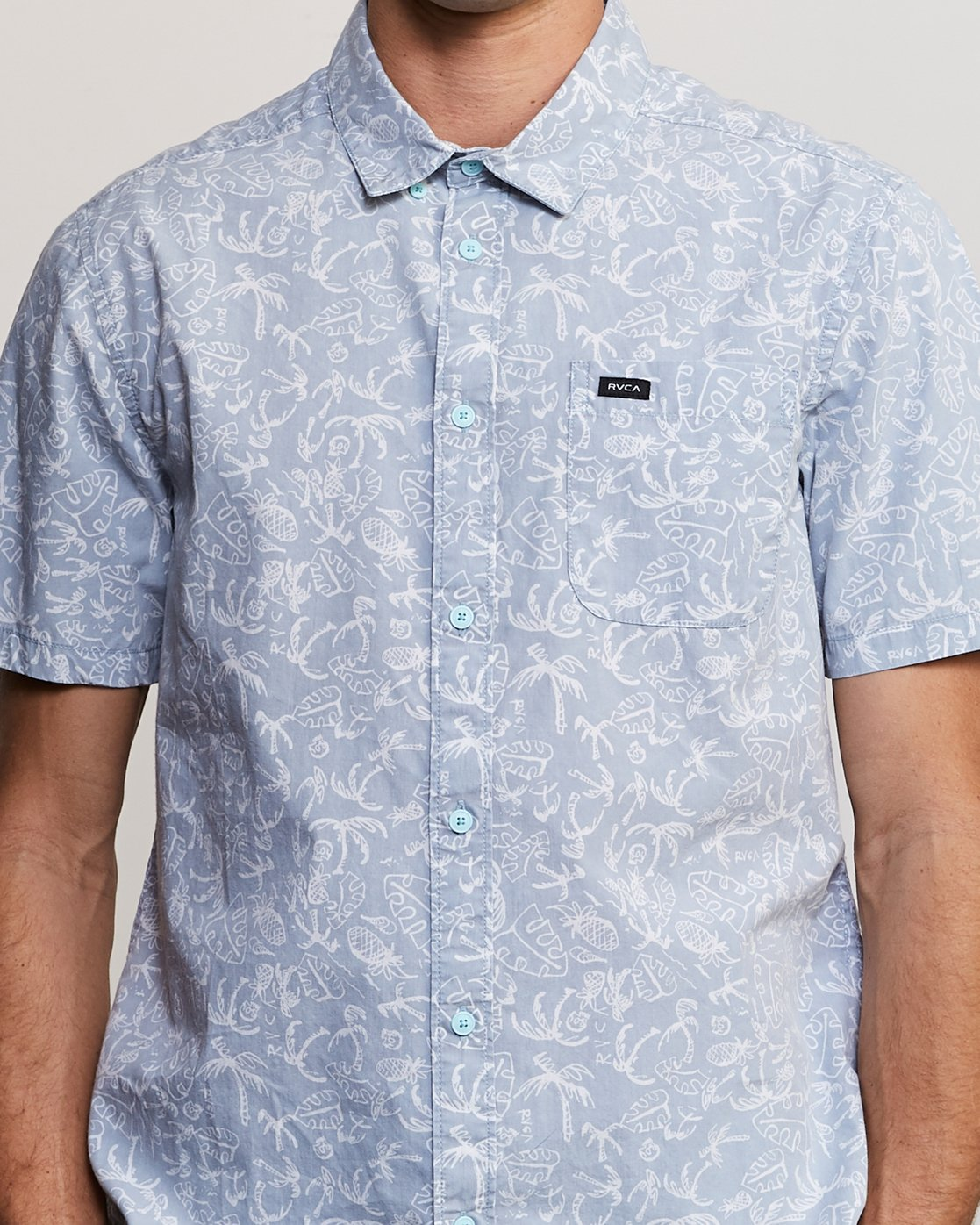 4 Sketchy Palms Button-Up Shirt Blue M572URSP RVCA
