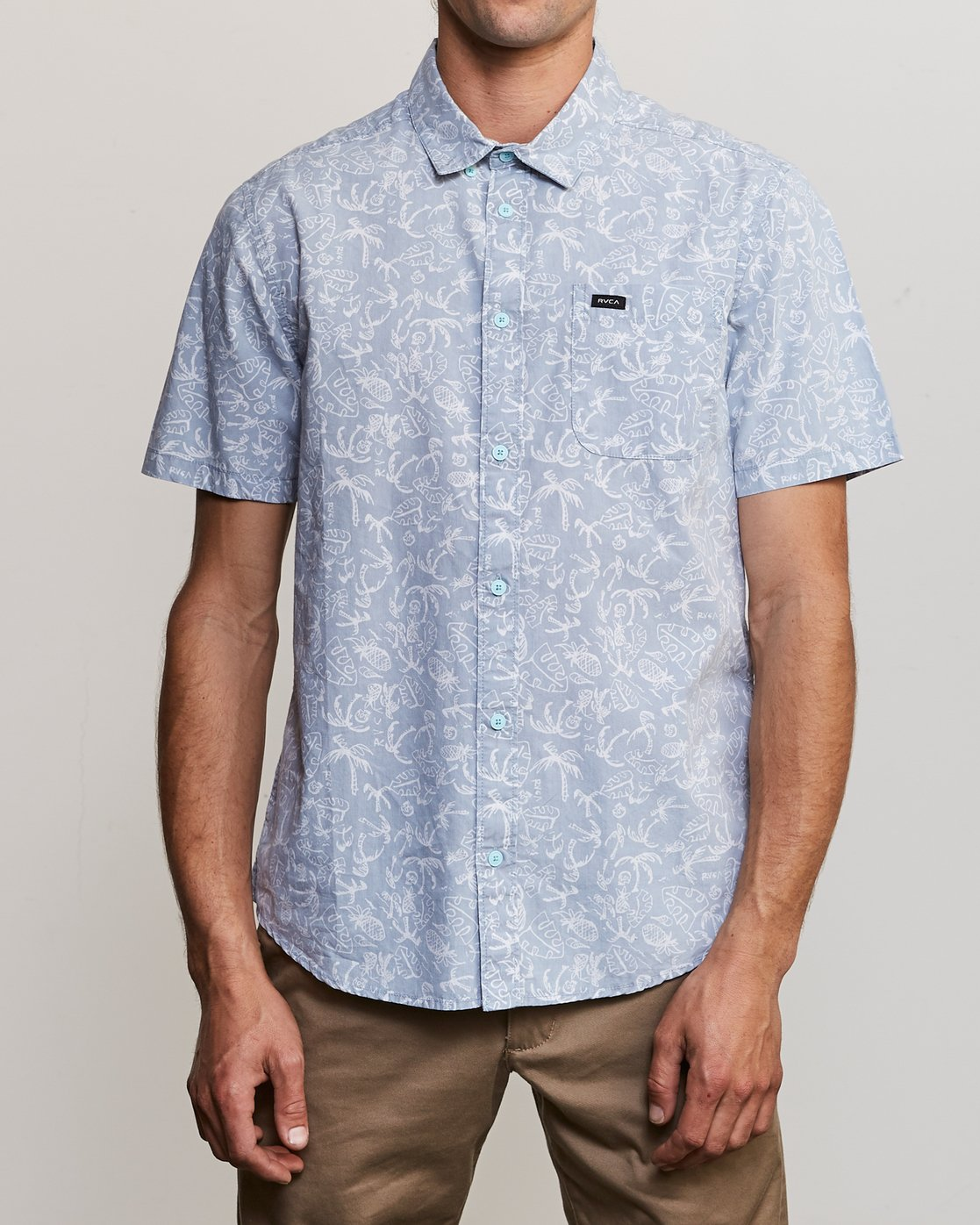1 Sketchy Palms Button-Up Shirt Blue M572URSP RVCA